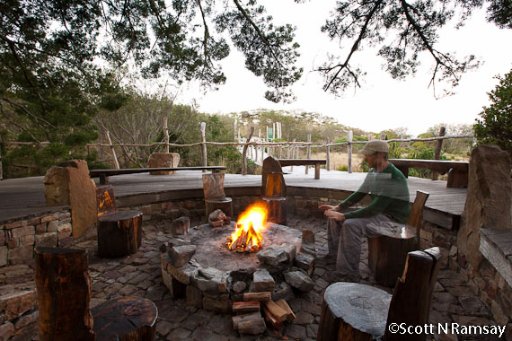 The fire and cooking area at Silvermine Tented Camp