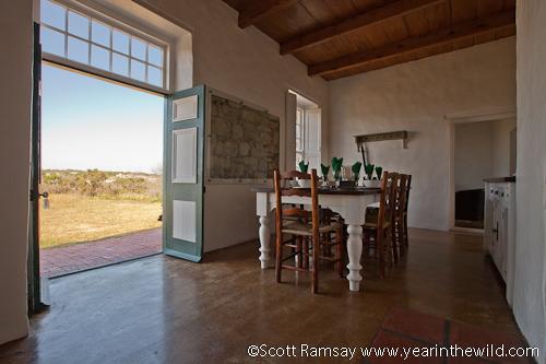 Dining room in the Melkkamer Vlei Cottage at De Hoop Nature Reserve