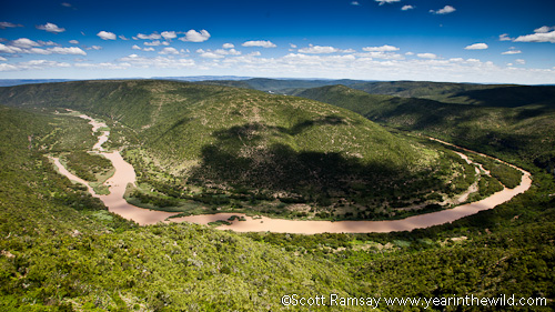 The view of the Great Fish River at Adam Krantz viewpoint...the best and most accessible view in the reserve