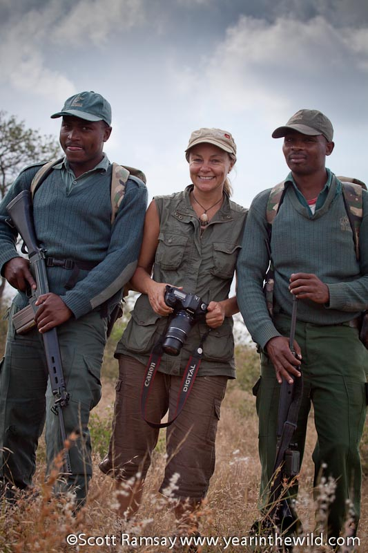 Niki with the anti-poaching rangers