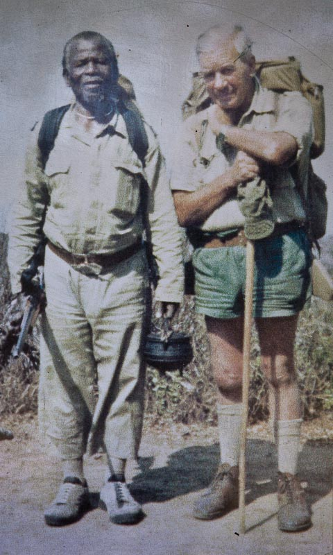 Magqubu Ntombela and Dr Ian Player on trail