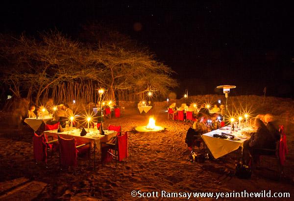 Dinner at the boma at Pafuri Camp
