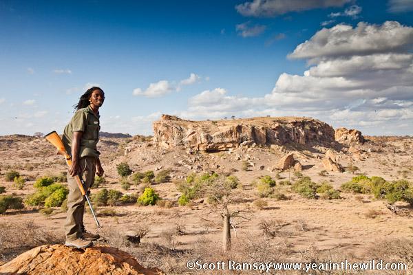 SANParks guide Cedric Sethlako overlooking Mapungubwe Hill.