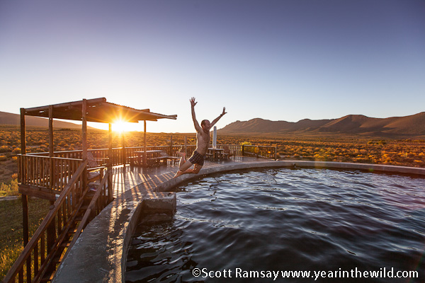 The huge swimming reservoir at the main camp of Vrede at Anysberg - lekker!