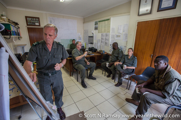 General Johan Jooste briefs some of his section rangers who are at the frontlines on the war on poaching in Kruger