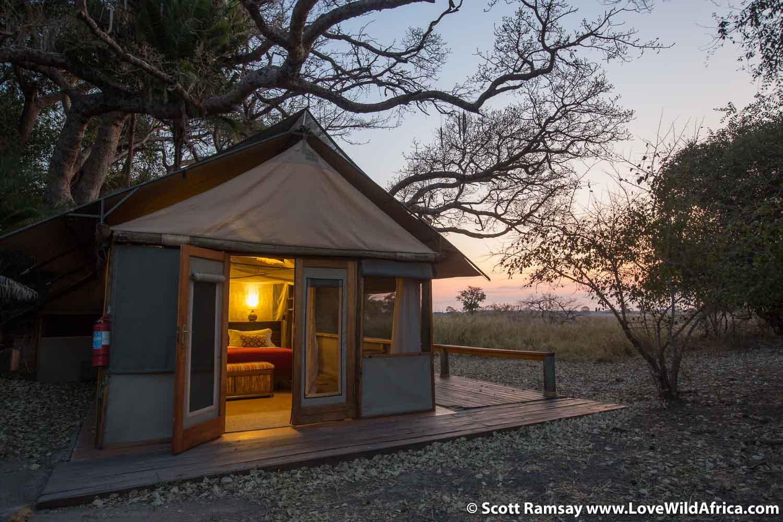 The en-suite tents at Busanga Bush Camp.