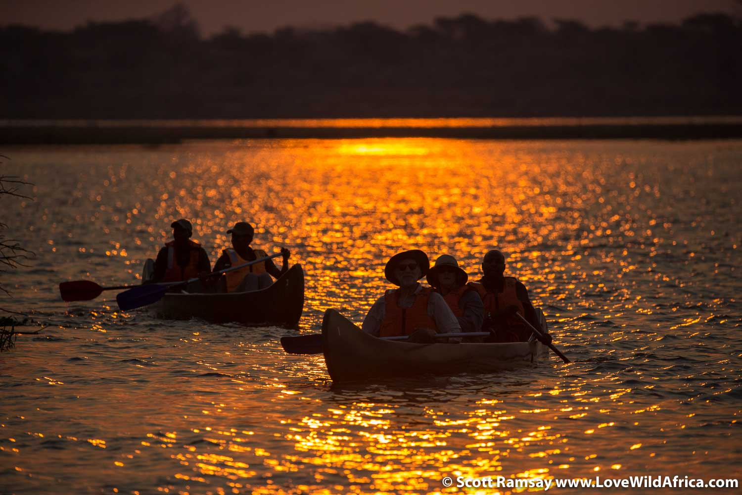 Canoeing on the Zambezi River in Mana Pools