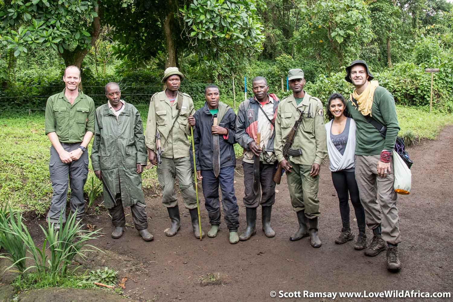 Post trek group photo. Thank you to Jean de Dieu-Bitamizac, Emanuel Bazimenyera, Theo Habimana, Dezire Kajambere and Richard Paluku for the memorable moments with the gorillas. The gorilla trekking industry is a big contributor of funds to the conservation of Virunga. Rwanda and Uganda's permits are upwards of $600 per person, but in the DRC, you can pay as low as $200 depending on time of year and nationality of passport. This for an hour of gorilla viewing...but it's so worth it.