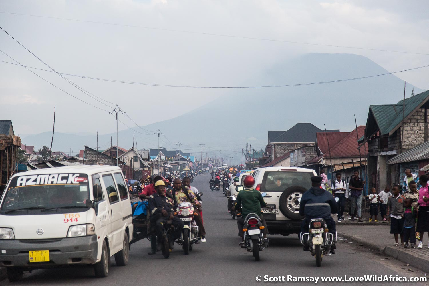 The city of Goma's skyline is dominated by the silhouette of Mount Nyiragongo, 20 kilometres to the north.