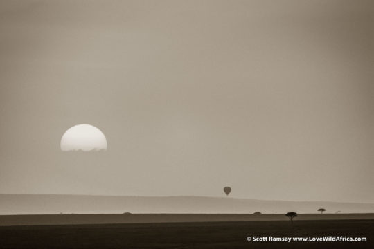 Sunrise and Hot Air Balloon - Maasai Mara - Kenya