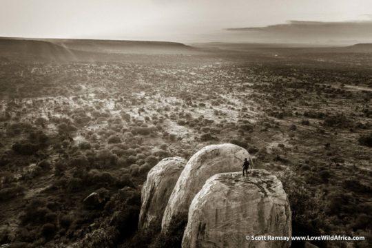 Man on rock - Laikipia - Kenya