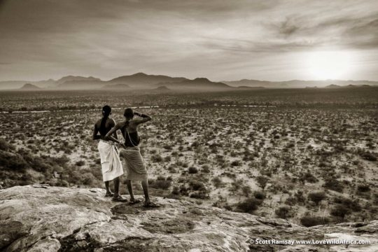 Samburu warriors at sunset - Samburuland - Kenya