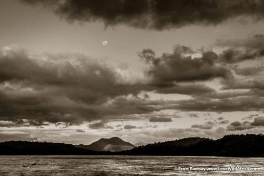 Zambezi River at dusk and moon rise - Mana Pools National Park - Zimbabwe