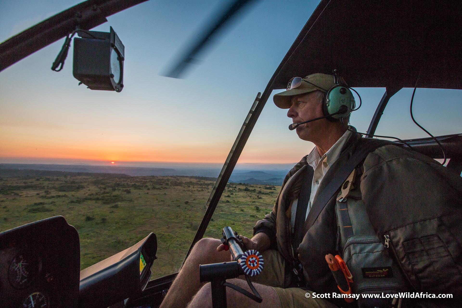 Chopper pilot Andy Boucher, showing us the lay of the land in Laikipia