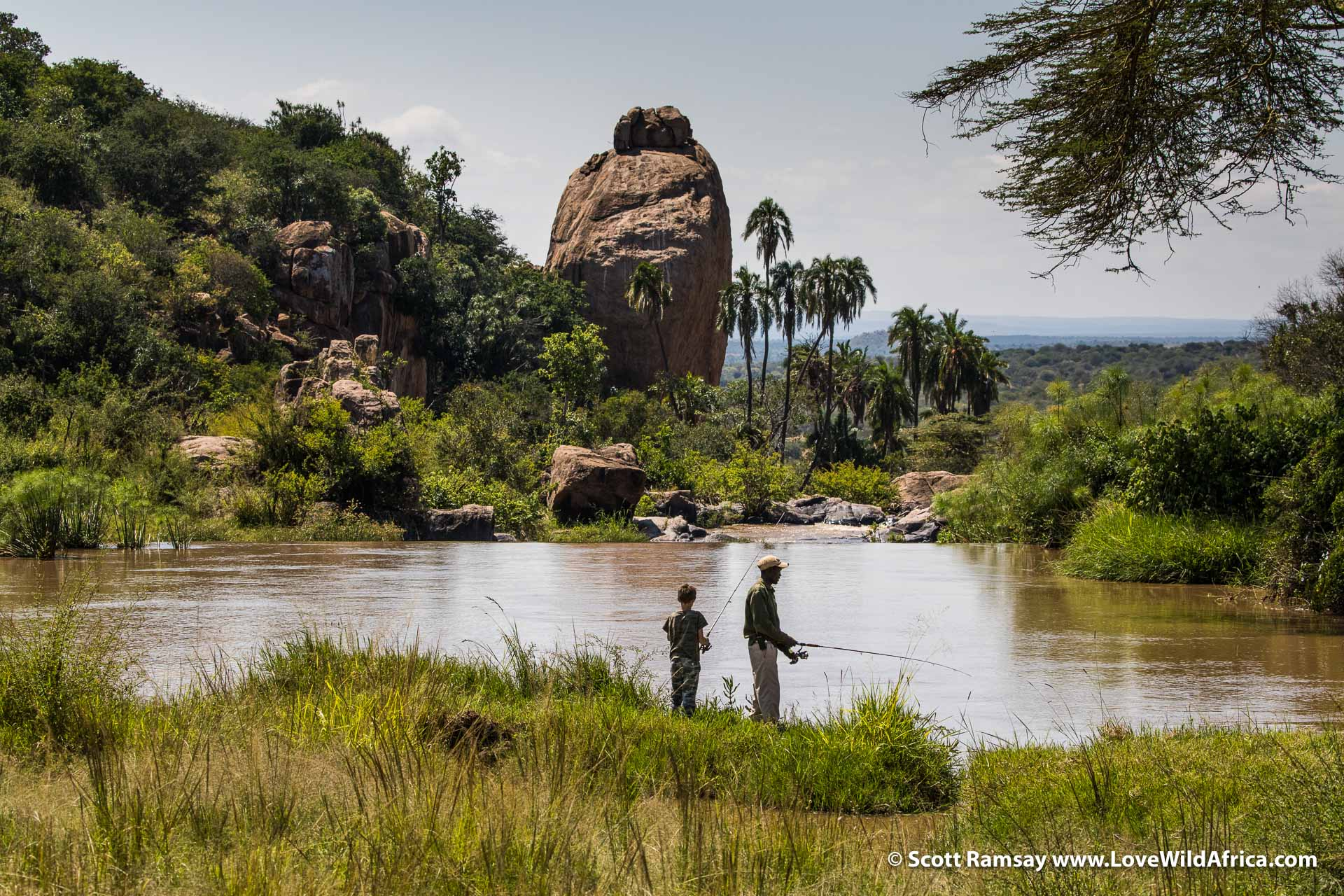 Fishing in the Ewaso Ngiro.