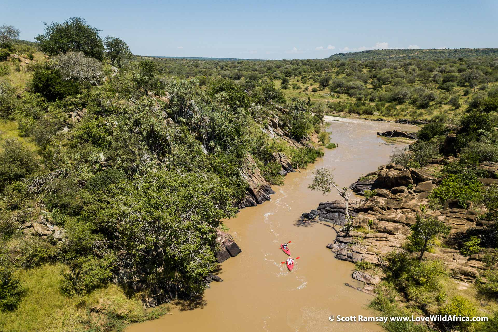 Drone view of canoeing on the Ewaso Ngiro