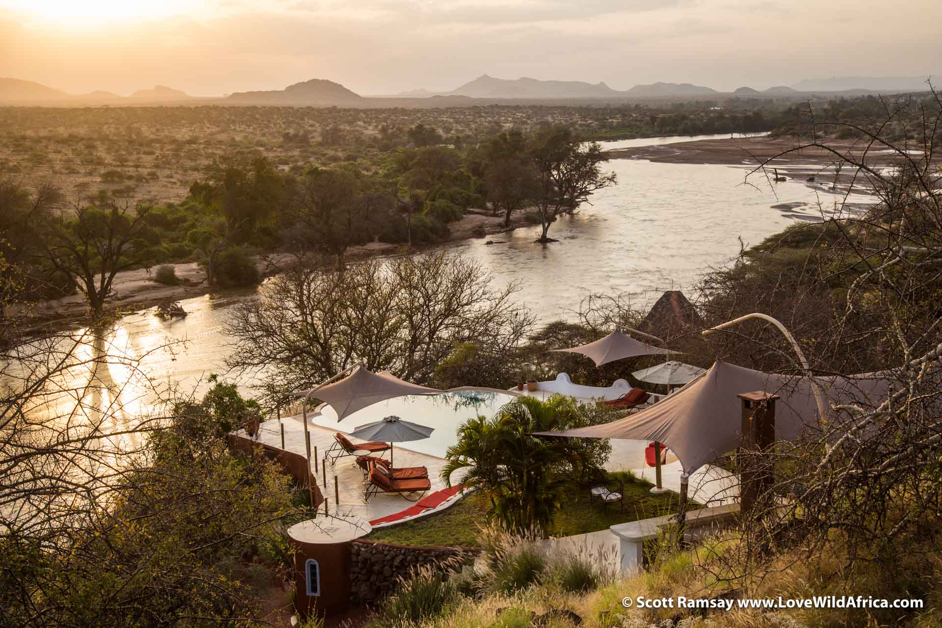 Sasaab Lodge is on a ridge above the Ewaso Ng'iro River, one of the more memorable lodve views I've seen in Africa.