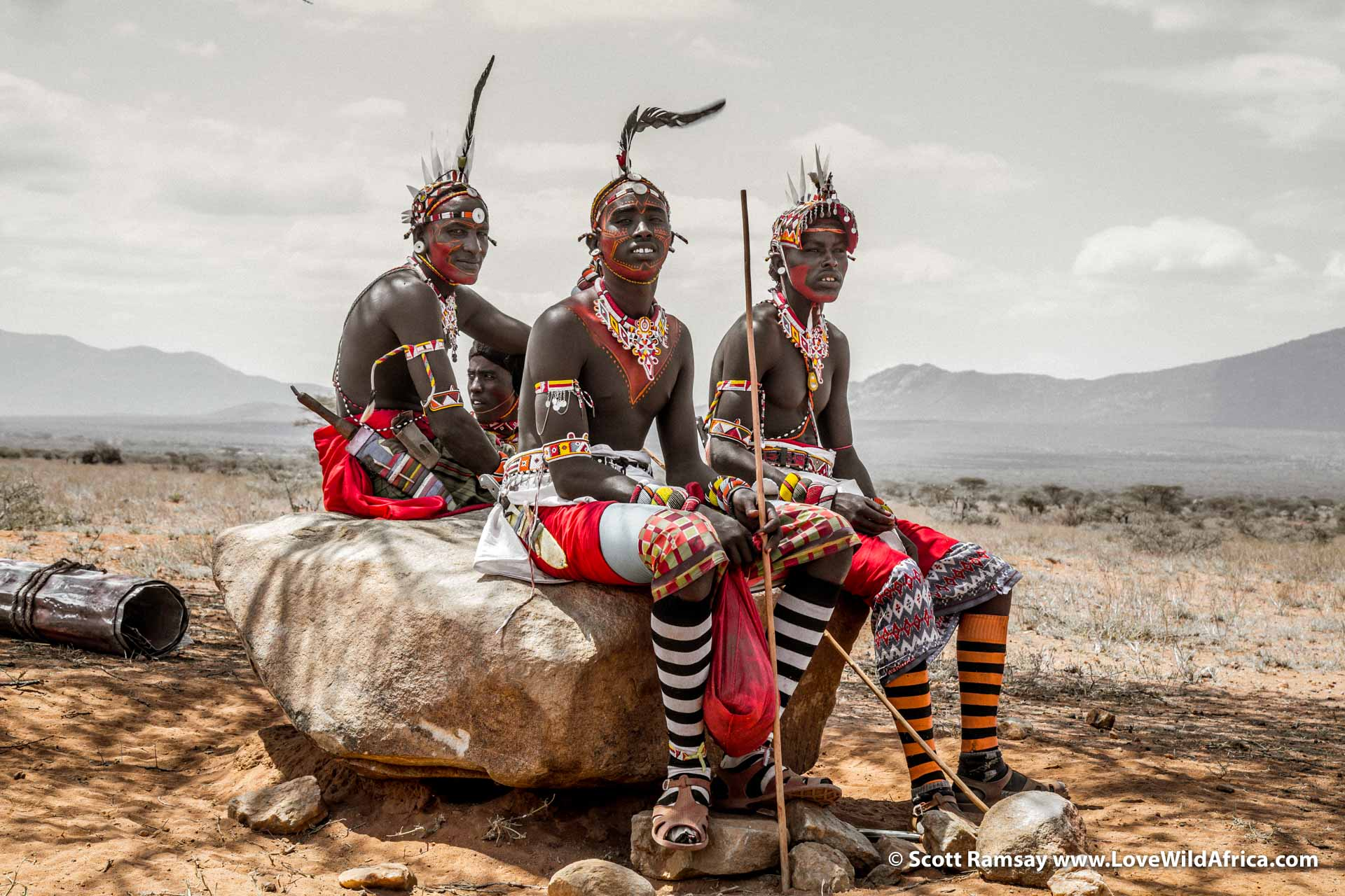 On our way into Samburuland near the Matthews mountain range, we came across this group of Samburu men, dressed up in ceremonial wedding attire. Mikey asked them if I could take a photo...and they seemed happy to do so.