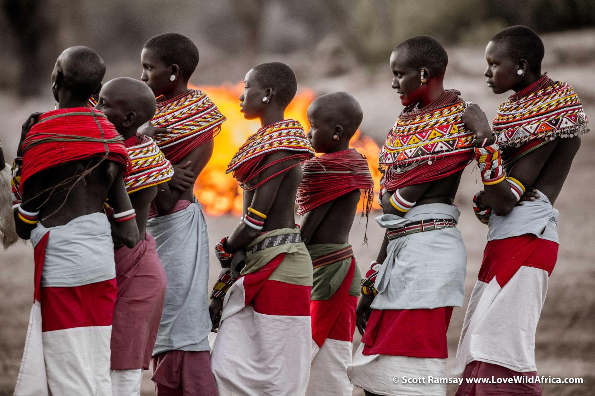 Young Samburu women admiring the moran dance...their tall, elegant frames are impossible to ignore.