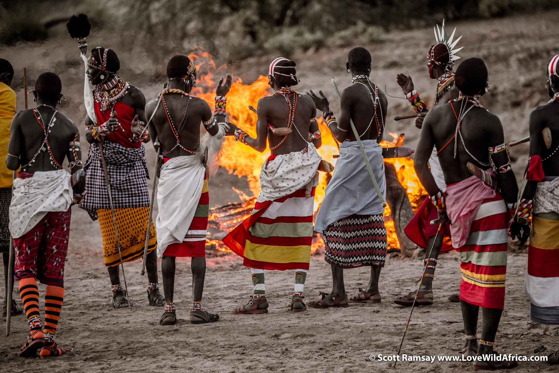 I love how the colour of the fire matches the yellows on the skirts and beads of the Samburu...and how the warriors' moving hands and arms seem to be imitating the flames of the fire.